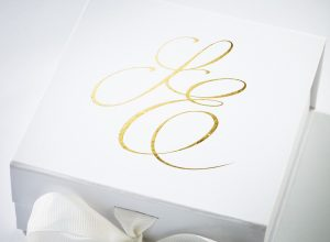 White Small Gift Boxes with fixed grosgrain ribbon