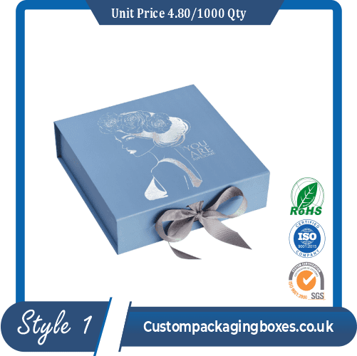 box with ribbon closure